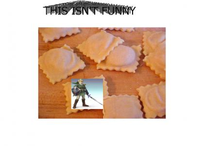ravioli with a video game character over it