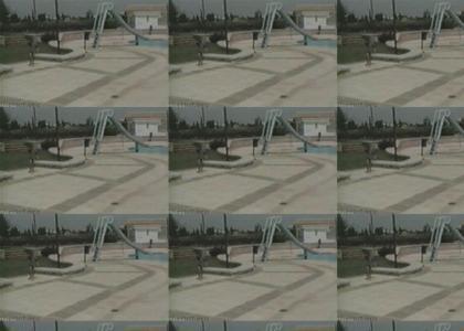 Pool Kid Holds Back