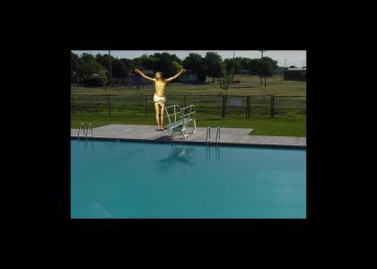 Jesus goes for a swim