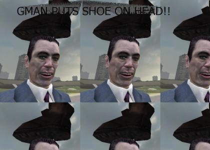 G-man puts shoe on head too!