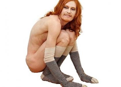 Hemishe = Half+Female =  Ginger Sock Man