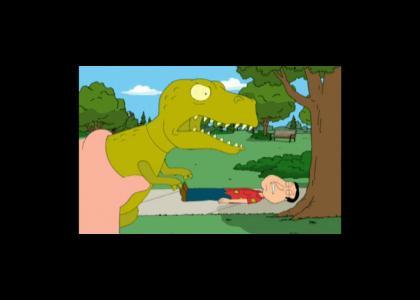 Quagmire eaten by a dinosaur