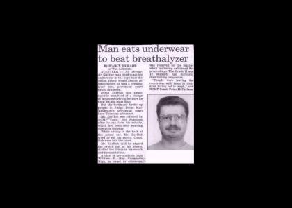 man eats own underwear to... ..