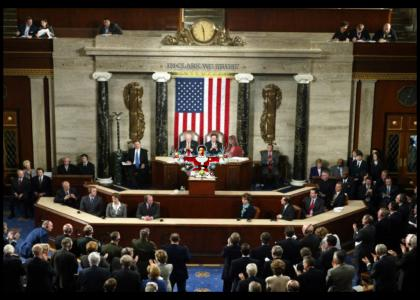 Clark Griswold addresses Congress (now with girl that sells lingerie & in clark we trust)