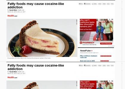 Fatty foods cause cocaine-like addiction