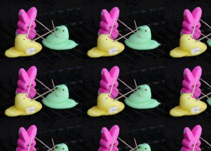 Mexican Peep Standoff on a BBQ