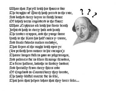 Chaucer Failes at thy Englysh Lanngwege