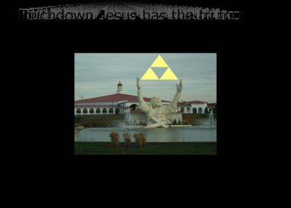 Touchdown Jesus has the triforce