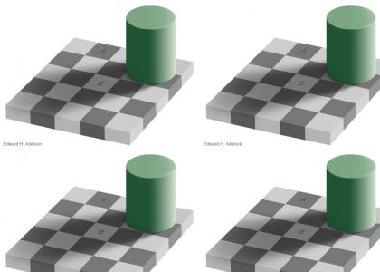 Squares A and B are the same color.