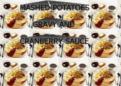 mashed potatoes, gravy, and cranberry sauce