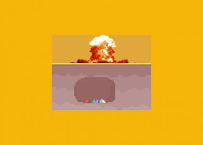 seven colored pixel cats in a cave waiting for the radiation to disperse