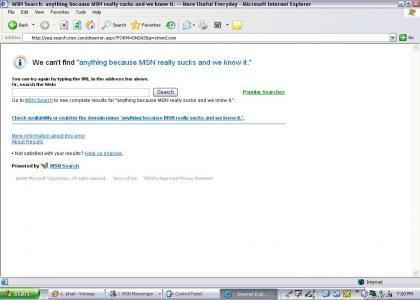 MSN Address Bar Search phails at Life