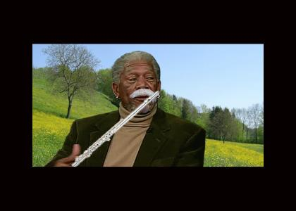 Morgan Freeman plays the flute with a fake mustache while simultaneously narrating the Shawshank Redemption