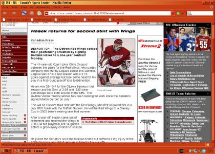 Hasek returns with Red Wings!!!11