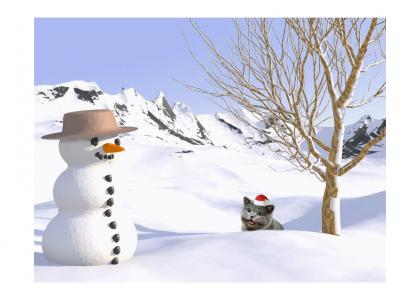 HappyCat meets Frosty The Snowman