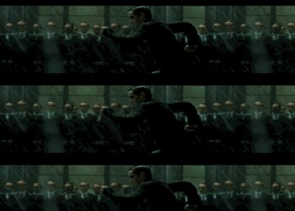 Agent Smith chases Neo