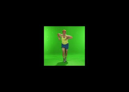 Happy man dancing to Fats Waller