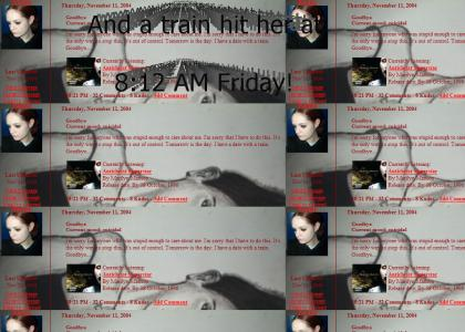 NEW Emo MySpace GIRL suicide by TRAIN!