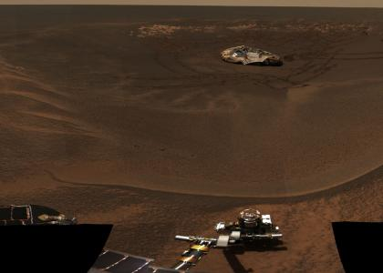 Mars Rover Looking Back At Lander