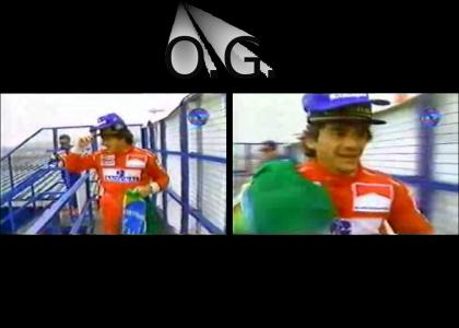 Senna is gangsta because he wears 2 hats to the podium