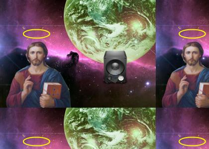"""Jesus listening to William Shatner's cover of """"Flanders is a Jerk"""" by Homer Simpson"""