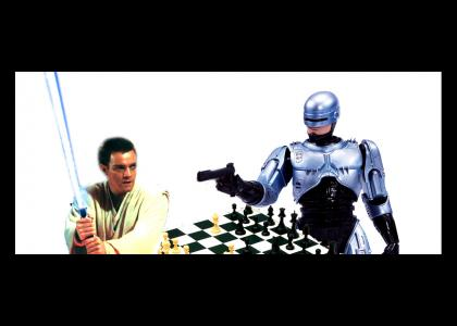 Obi Wan and Robocop argue about chess