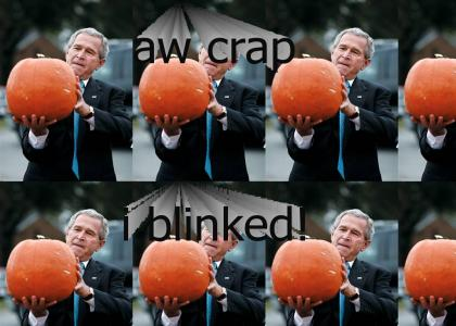 George Bush has a staring contest . .