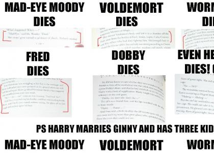 DOBBY HEDWIG FRED AND SNAPE DIE! HARRY MARRIES GINNY; NEVILLE BECOMES A TEACHER