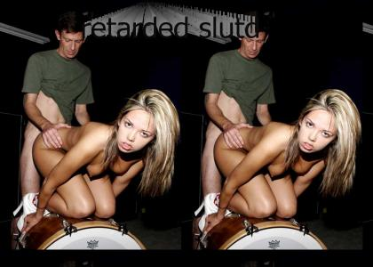Sexy Underage takes nut sack on drum set from behind