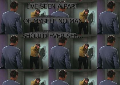 Captain Kirk looks down his pants...