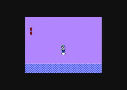 Luigi floating on an egg over a sea