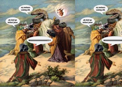 Dont become extinct raptor jesus (update with dinosciples and shatneroid)