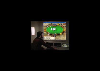 Riker plays online poker