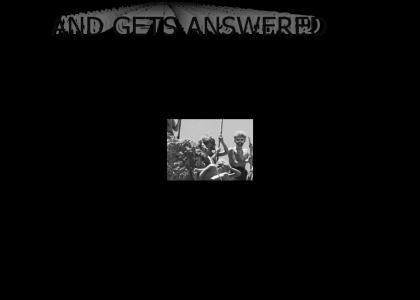 Piggy Questions The Rock (B&W)