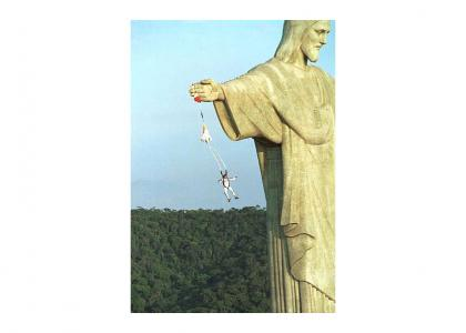 Jesus saves..........................................falling people