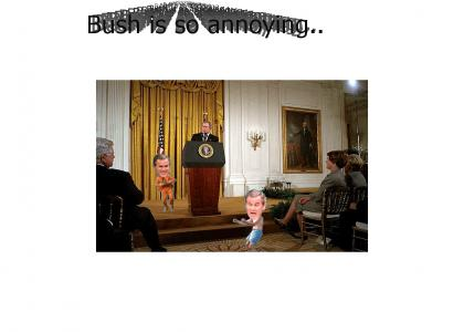 What is doing Bush during other men speech !