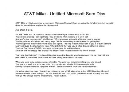 "AT&T Mike ""Untitled Microsoft Sam Diss"""