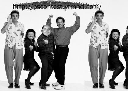 Greyscale picture of Seinfeld cast..