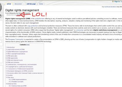 Wikipedia hates the Digital Rights Management!