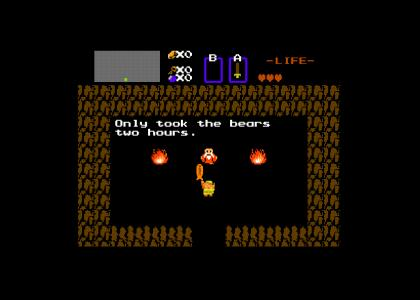 Link finds a fish biscuit (NES Version)