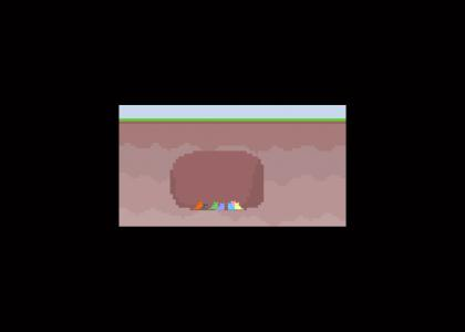 seven colored pixel cats in a cave waiting patiently