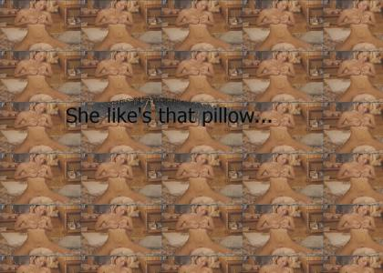 Chick humps her pillow (NSFW)