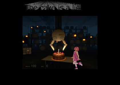 GLaDOS teaches Stephanie on how to make a cake.