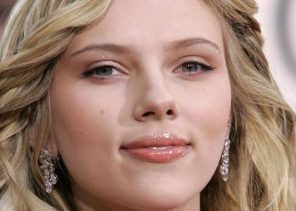 Scarlett Johansson... (kinda) stares into your soul.