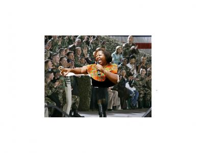 Black Lady Entertains Troops