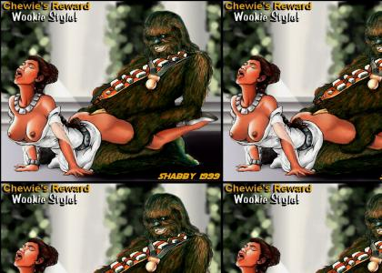 Chewie began pumping his hips rhythmically, driving himself into Leia as far as he could go.