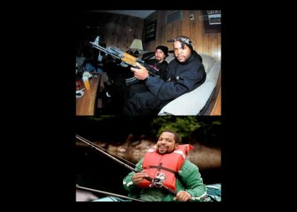 Ice Cube fishing while wearing a life jacket.