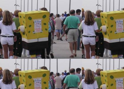 Spongebob discovered a nearby Hooters!