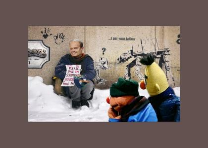 Ernie & Bert concerned about a homeless man.