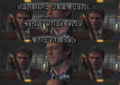 GENUINE BULL PENIS STRETCHED OVER A METAL ROD